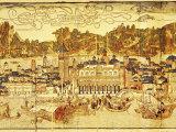 Early Panorama of Venice Dating from the 15th Century  Sansovino Library  Venice  Veneto  Italy