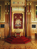 Throne in Queen's Robing Room  Houses of Parliament  Westminster  London  England