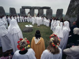 Druids at Stonehenge  Wiltshire  England  United Kingdom