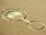 Aerial View of Crop Circles in a Wheat Field  Wiltshire  England  United Kingdom