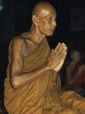 Buddhist Monk Meditating  Wat Suntorn  Bangkok  Thailand  Southeast Asia