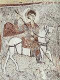 Fresco in Church of the Serpent  Figure Could be St George  Goreme  Cappadocia  Anatolia  Turkey