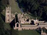 Aerial View of Fountains Abbey  Unesco World Heritage Site  Yorkshire  England