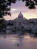 Skyline of St Peter's from Ponte Umberto  Rome  Lazio  Italy