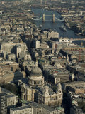 Aerial View of St Pauls Cathedral  Tower Bridge and the River Thames  London  England