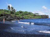 Walanapanapa Black Sand Beach  Hana Coast  Maui  Hawaii  Hawaiian Islands  USA