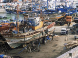 Boatbuilding in the Fishing Harbour  Essaouira  Morocco  North Africa  Africa