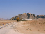 Train on Railway in the Desert  Shoubek  Jordan  Middle East