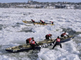 Ice Canoe Races on the St Lawrence River During Winter Carnival  Quebec  Canada