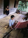 Ngada Woman Weaving Ikat Cloth  Bena Village  Flores  Indonesia  Southeast Asia