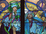 Stained Glass by Mucha  St Vitus Cathedral  Prague  Czech Republic