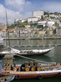 Port Barges on Douro River  with City Beyond  Oporto (Porto)  Portugal