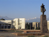 View of Lenin Square Looking Towards the Ala-Too Range of Mountains  Bishkek  Kyrgyzstan