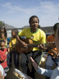 Musical Event at Local School in the Volcanic Caldera  Fogo (Fire)  Cape Verde Islands  Africa