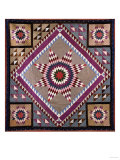 A Rising Star Design Coverlet  Probably Philadelphia  Pieced and Quilted Silk  1880  1890