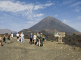 Tourists and the Volcano of Pico De Fogo in the Background  Fogo (Fire)  Cape Verde Islands  Africa
