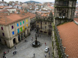 Plaza De Las Platerias from Roof of Santiago Cathedral  Santiago De Compostela  Spain