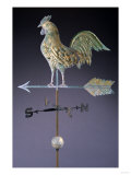 Fine Feathered Rooster and Arrow Weathervane  Gilded and Molded Copper  Early 19th Century