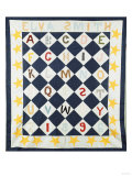 Alphabetic Quilt Top  Pieced and Appliqued Calico  1896