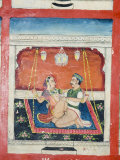 Scenes from the Kama Sutra from Cupboard in the Juna Mahal Fort  Dungarpur  Rajasthan State  India