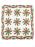 Princess Feather Design Coverlet  Ohio  Quilted and Appliqued Cotton  Circa 1850