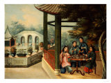 Chinese Garden Scenes with Ladies Taking Tea  Chinese School  Mid 19th Century