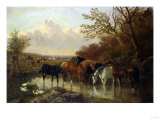 Farmhorses Watering in a Wooded River Landscape