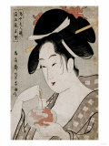 A Bust Portrait of the Courtesan Wakamurasaki of the Tsunotamaya Playing with Goldfish