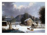 New England Farm by a Winter Road
