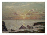 On the Cliff at Belle Isle En Mer at Sunset  1913