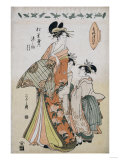 A Full Length Portrait of the Courtesan Somenosuke Accompanied by Two Kamuro