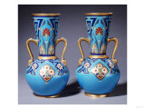 A Pair of Minton Twin-Handled Cloisonne Vases  Circa 1871