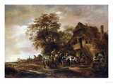 Riders Refreshing Themselves Outside an Inn  with Other Figures and a Horse and Cart