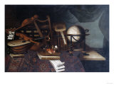 Musical Instruments with a Globe  and a Palette on a Table