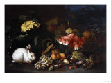 Vegetables and Fruit with Rabbits in a Landscape