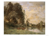 Cattle Watering by a Lake with a Chateau Beyond