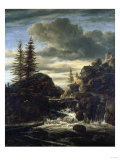 A Norwegian Landscape  with a Cascade Waterfall