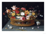 Roses and Other Flowers in a Wicker Basket on a Table