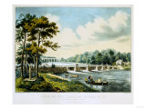 View on the Harlem River  NY  the Highbridge in the Distance  1852