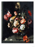 Tulips  Peonies  a Lily  Iris and Other Flowers in a Glass Vase  in a Niche  1619