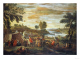 A River Landscape with Festivities and Numerous Figures