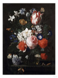 A Rose  a Tulip  Morning Glory  and Other Flowers in a Glass Vase on a Stone Ledge  1671