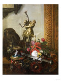 A Still Life with Bronze Statue  Assorted Flowers  and a Sword and Helmet on a Carpeted Table  1869
