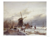 A Frozen River Landscape with a Windmill