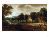 A Wooded River Landscape  with Village Buildings and Abraham and the Three Angels