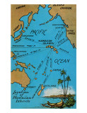 Hawaiian Islands Map  c1920s