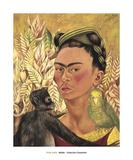Self-Portrait with Monkey and Parrot, c.1942 Reproduction d'art par Frida Kahlo