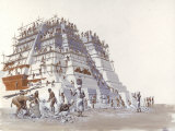 Mayan Laborers Fit and Mortar a Temple&#39;s Limestone Blocks