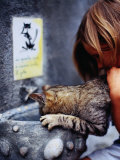 Girl Helping Cat at Cat Fountain  Positano  Campania  Italy