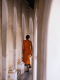 Monk Walking Away  Bangkok  Thailand